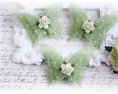Shabby Vellum Butterfly Embellishments for Scrapbooking, Cardmaking, Altered Art, Tag Art, Mini Album, Green