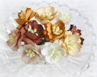 Shades of Brown Cherry Blossoms~ Set of 10 for Scrapbooking, Cardmaking, Altered Art, Wedding, Mini Album