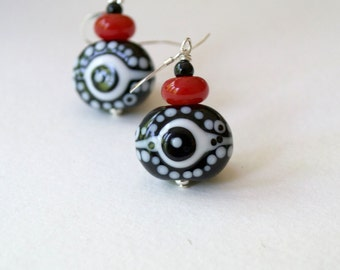 Evil Eye Earrings, Black Earrings, Polka Dot Earrings, Glass Earrings, Lampwork Bead Earrings, Mod Earrings, Unique Artisan Earrings