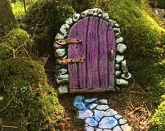 Plum colored  Fairy Door, Garden Fairy Door,  Fairy Door Village,