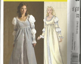 McCalls Costumes Medieval Renaissance Dress Gown Sewing Pattern Size EE 4 16 18 20