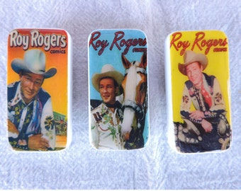 Domino Magnets Set of 3 Vintage Cowboy Roy Rogers Comic Cover