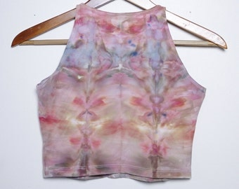 Psychedelic Ice-Dyed Crop Top - Size Large - L