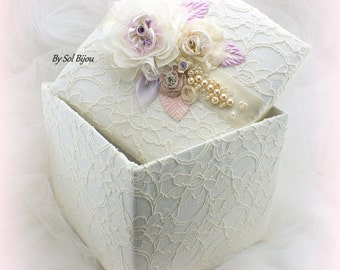 Keepsake Box, Wedding Keepsake Box, Ivory, Lilac, Rose, Blush, Pink, Gift Box, Lace Keepsake Box, Elegant, Vintage Style, Pearls, Crystals