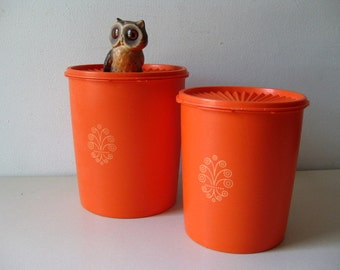 Vintage Tupperware orange 1970s canisters