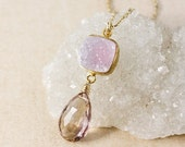 ON SALE Purple Ametrine Necklace – Pink Druzy – 14K Gold Filled