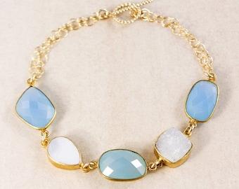 ON SALE Blue Chalcedony Bracelet – White Druzy – 14K Gold Filled