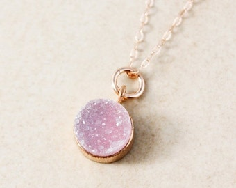 ON SALE Rose Pink Druzy Pendant Necklace – Choose Your Druzy