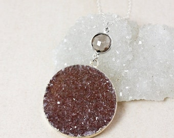 ON SALE Smokey Quartz and Maroon Druzy Necklace – Choose Your Druzy – 925 Sterling Silver