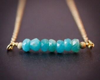 25% OFF Blue Amazonite Necklace - Amazonite Jewelry - 14K GF