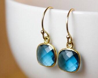 25% OFF Small London Blue Quartz Dangle Earrings - 14K GF - Something Blue