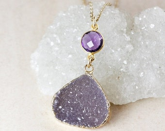 50% OFF Purple Amethyst Quartz and Druzy Necklace – Choose Your Druzy – 14K Gold Filled Chain