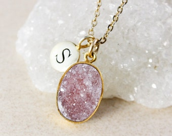 Pink Druzy Pendant Necklace – Initial Charm – Choose Your Druzy