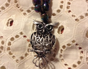 """Cool Owl Necklace on Black Cord~14""""+1&1/4 """"Pewter  charm~Free Shipping"""