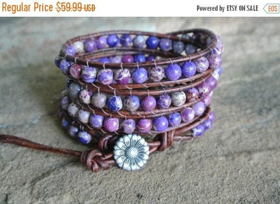 SALE Jardin Purple Jasper Beaded Leather Wrap Bracelet