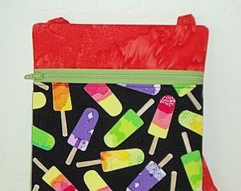 Cross body Mini messenger, cell phone bag, child bag, treasure bag- Popsicles with orange coordinating top zip bag, passport holder KBD10112