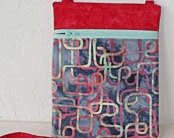 Cross body Mini messenger and cell phone bag, passport holder, Gray, yellow, coral, mint batik zip bag with coordinating zipper KBD10111