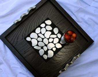 Small Ottoman Tray.  Serving Tray.  Drink Tray.  Accent Tray.  Hostess Tray.  Champaigne Tray.  14 x 14.  Ebony Finish.  Handmade
