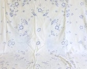 ON SALE Vintage Tablecloth - Linen Table cloth - blue and white - Blue Flowers - country charm - Shabby Chic - Rustic charm - Linen, fabric,