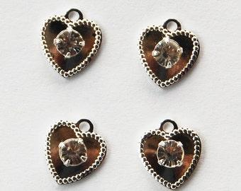 Vintage Silver Hearts Rhinestones 4 Sterling Plated Hearts Swarovski Crystal 10mm