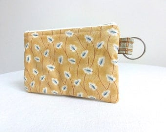 Yellow Wheat and Ivory Zippered Bag / Coin Purse / Id Case / Gadget Pouch with Split Ring - READY TO SHIP