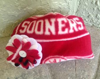 Oaklahoma University Sooners Fleece Flower Hat - Great for Newborn Baby Girls, Children and Adult Women