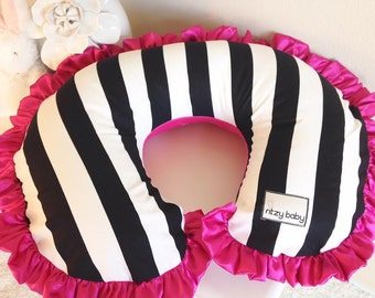 Black and White Stripe with Hot Pink Reverse Minky Nursing Pillow Cover