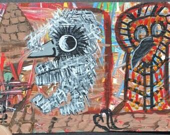 Bird Art Aceo, Baby Crow Painting, Original Acrylic, Mummy Baby Crow