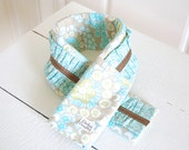 Ruffled Fabric Camera Strap Cover - Light Taupe, Turquoise and Sage Green Abstract with Turquoise and Cream Small Floral