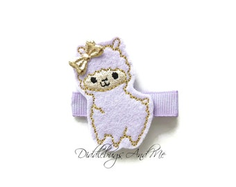 Baby Llama Hair Clip, Lavender And Gold Llama Hair Clip, Llama Hair Clip, Baby Hair Clip, Animal Hair Clip, Animal Hair Clips For Girls,