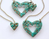 Grandmother, Mother and Daughter Matching Necklace Set in Teal and Copper