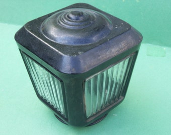 Colonial Outdoor Porch Light Cover with Ridged Glass Side Panels