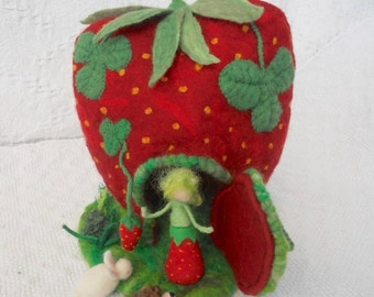 Felt play house, Strawberry House, Strawberry Fairy,Felt Play Mat, Felt Play Scape, Waldorf, white rabbit, hedgehog,red felted strawberry
