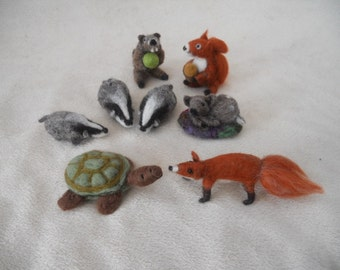 Bag of 3 Medium needle felted animals play items waldorf play scape play mat squirrel fox badger groundhog turtle baby deer