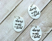 always in my heart charm, stamped message word pendant, small silver oval charm, bulk wholesale charms, be charmed always in my heart BC14