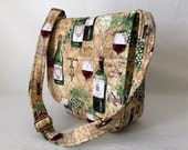 Messenger Bag Ipad Bag Travel Bag Hipster Cross Body Adjustable Strap Vera Bradley Type Wine Country Theme Beige Greens Wine