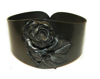 Original Victorian Carved Rosebud Vulcanite Antique Mourning Wide Bracelet Bangle