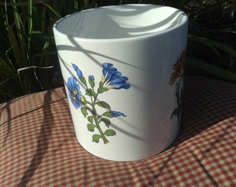Vintage Floral Porcelain Round Large White Vase Planter Holder Petunias Mums Poppy Made In Portugal