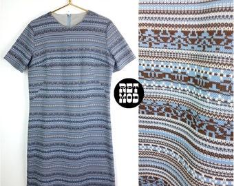 Cool Vintage 60s Blue & Brown Stripe Bavarian Style Knit Poly Shift Dress - Plus Size!