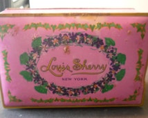 Vintage Tin - Louis Sherry New York - Chocolate Box - hinged lid - Shabby Chic Advertising Tin - 1930s lavendar box pink storage candy tin
