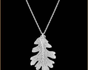 Real Oak Leaf Dipped In Silver Pendant - Real Dipped Leaf - In Gift Box