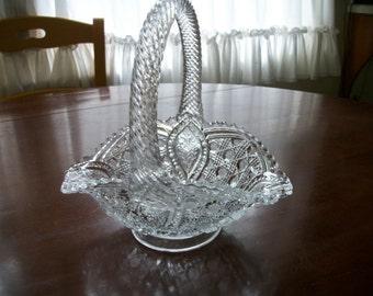 Antique Glass Basket/Vase Clear Pressed Glass Brides  Wedding Centerpiece Flower Holder Etched Glass Cottage Chic Decor