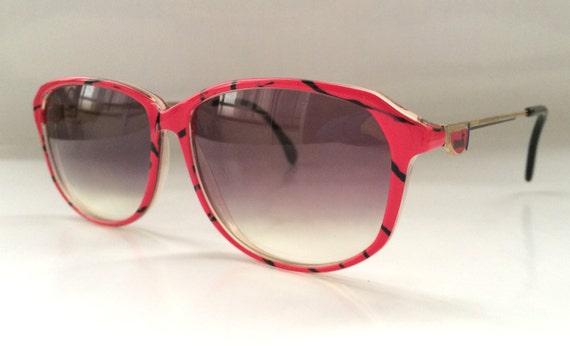 SALE 30% OFF 80s Vintage German Mondi Funky Shocking Pink Panther Pattern Sunglasses