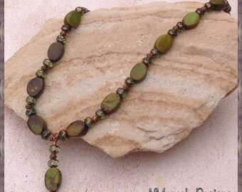 Green Magnesite Necklace and Earrings Set - ON SALE