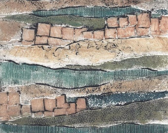 Packaged Print Studio Sale - hand-pulled collagraph OOAK landscape print Layers No. 2