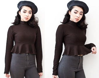 Chocolate Brown Ruffled Hem Cropped Turtle Neck Sweater XS S M L XL