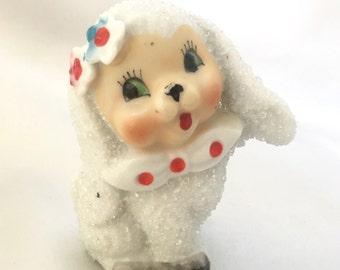 Vintage 1950s sugar texture ceramic lamb figurine