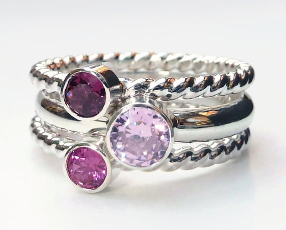 Mothers Ring - 3 Birthstone Stacking Rings - Family Ring - Faceted Gemstones - Stackable Rings - Birthstone Rings - Sterling Silver