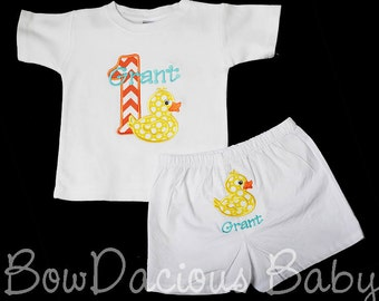 Duck Birthday Set, Duck Birthday Outfit, Rubber Duck First Birthday Outfit, Birthday Shirt or Bodysuit and Diaper Cover, Custom Birthday