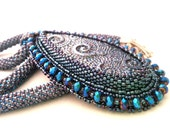 Deep blue little Swirl Bead embroidered statement necklace with deep blue polimer clay - OOAK